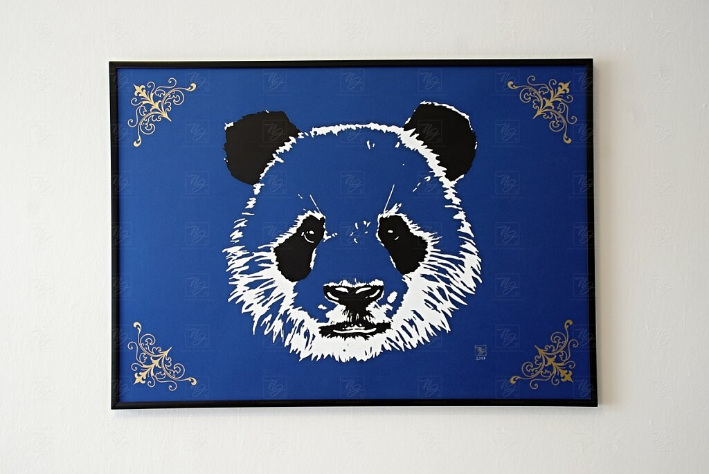 Blue Panda on metalic paper